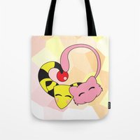 mew Tote Bags featuring Mew and Ampharos: Heart by Constanzze