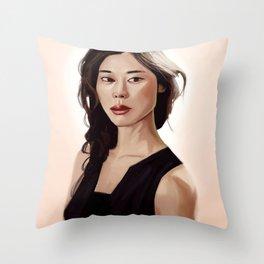 Woman Portrait Throw Pillow