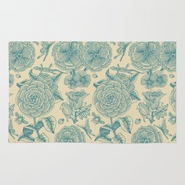 Garden Bliss - in teal & cream Rug