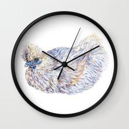 White Silkie Chicken Hen Wall Clock