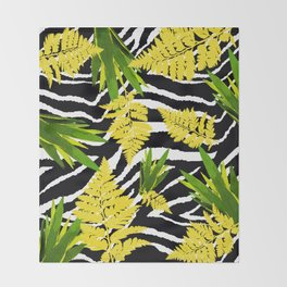 ZEBRA PALMS AND FERNS YELLOW AND GREEN Throw Blanket