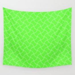 Bright Neon Green Tennis Ball Seams Repeating PatternBright Neon Green Tennis Ball Seams Repeating P Wall Tapestry