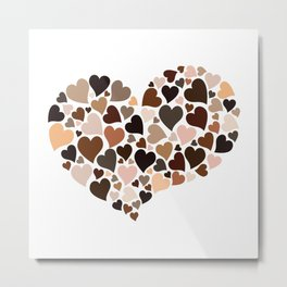 Diversity Hearts Skin Tones Humanity's Colors Love  Everyone Metal Print