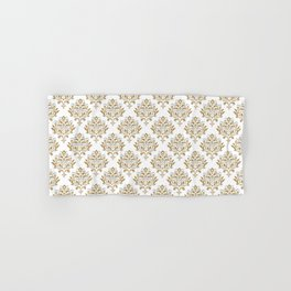 Crafted Damask Inspired Gold Pattern with Blue Accents Hand & Bath Towel