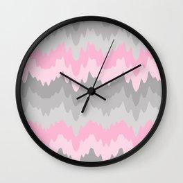 Pink Grey Gray Ombre Chevron Camo  Wall Clock