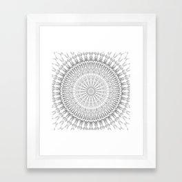 Gray White Mandala Framed Art Print