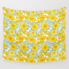 Yellow daylily flower pattern Wall Tapestry