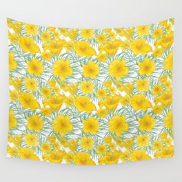 Yellow daylily flower pattern Wall Tapestry