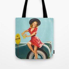 Vintage Pin Up Girl Poster Tote Bag