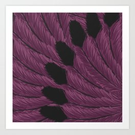 Watercolor Purple and Black Tipped Feathers Art Print