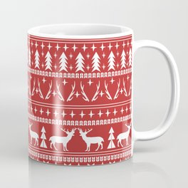 Deer christmas fair isle camping pattern snowflakes minimal winter seasonal holiday gifts Coffee Mug