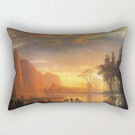 Yosemite Valley Sunset By Albert Bierstadt | Reproduction Painting Rectangular Pillow