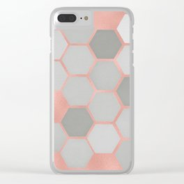 Honeycomb on Rose Gold Clear iPhone Case