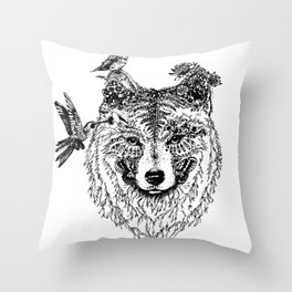 Wolf and Hummingbirds Throw Pillow