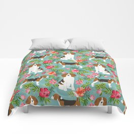 Beagle hawaiian dog pattern tropical pattern cute gifts for dog lover dog breeds Comforters