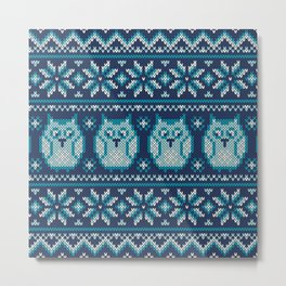 Owls winter knitted pattern Metal Print