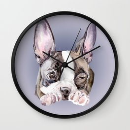 Boston Terrier Dog Watercolor Painting Wall Clock