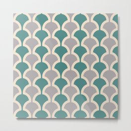 Classic Fan or Scallop Pattern 419 Gray and Teal Green Metal Print