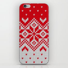 Winter knitted pattern 10 iPhone Skin
