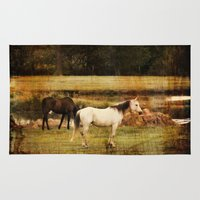 horses Area & Throw Rugs featuring Horses by Christy Leigh