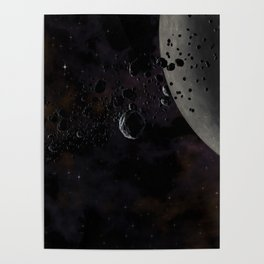 Rocks and ice particles orbiting around dead planet. Outer Space, Cosmic Art and Science Fiction Con Poster