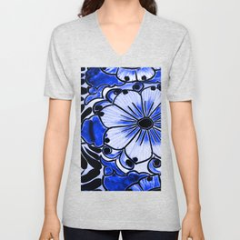 Indigo Blue Flower Unisex V-Neck