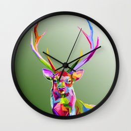 Colorful decoration of deer Wall Clock
