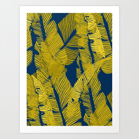 Carved Yellow&Blue Jungle #society6 #decor #buyart Art Print