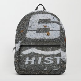 Route 66 sign on the road Backpack