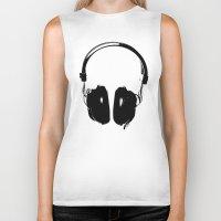 headphones Biker Tanks featuring HEADPHONES by by INK! - Sandie Dolleris Thomsen