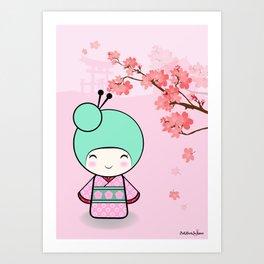 Kokeshi doll - Sakura Art Print
