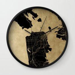 San Francisco California Black and Gold Map Wall Clock