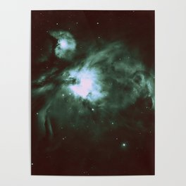 Dark Forest Green Teal Orion Nebula Poster