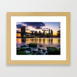 The New York Skyline at Sunset Framed Art Print