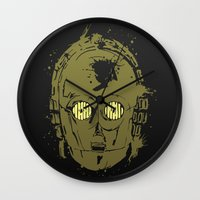 c3po Wall Clocks featuring C3PO by Peyeyo