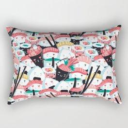 Kawaii Sushi Crowd Rectangular Pillow