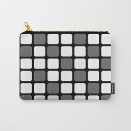 BLACK GREY AND WHITE RECTANGLE TILE  {BASIcs JHD} Carry-All Pouch