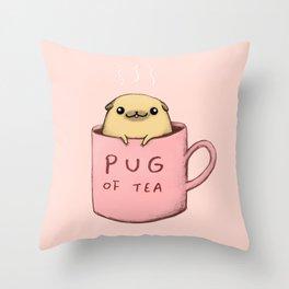 Pug of Tea Throw Pillow