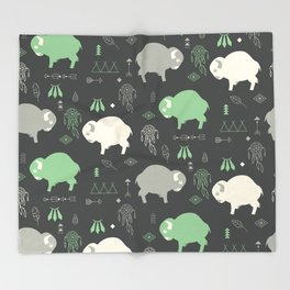 Seamless pattern with cute baby buffaloes and native American symbols, dark gray Throw Blanket