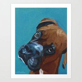 Leo the Boxer Dog Portrait Art Print
