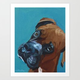 Leo the Boxer Dog Portrait Art Print