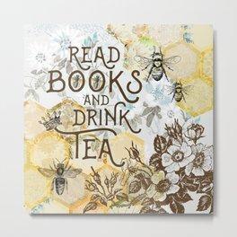 Bee Tea and Books Metal Print