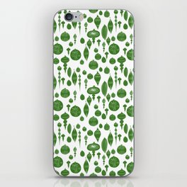 Vintage Christmas Ornaments in Green on White iPhone Skin