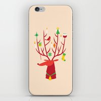 reindeer iPhone & iPod Skins featuring Reindeer by Wharton