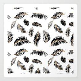 Palm Pattern Black Creamsicle Orange Vector Line Art Art Print