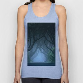 Cold foggy morning in Dark Hedges Unisex Tank Top