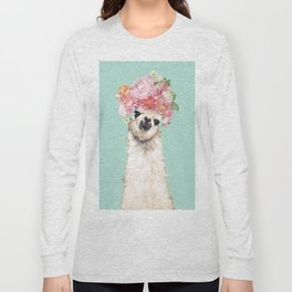 Llama with Flowers Crown #3 Long Sleeve T-shirt