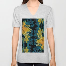 Abstract seadragons on black Unisex V-Neck