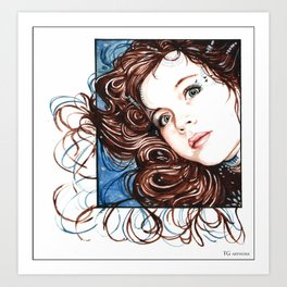 Girl in Watercolours Art Print