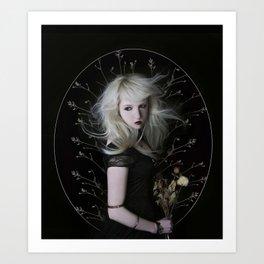 New moon - beautiful girl black background fineart Art Print